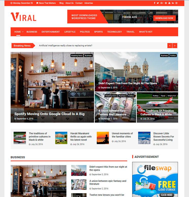 Viral WordPress шаблон