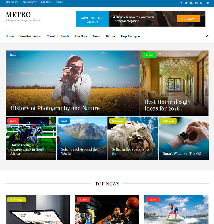 Metro Magazine WordPress шаблон