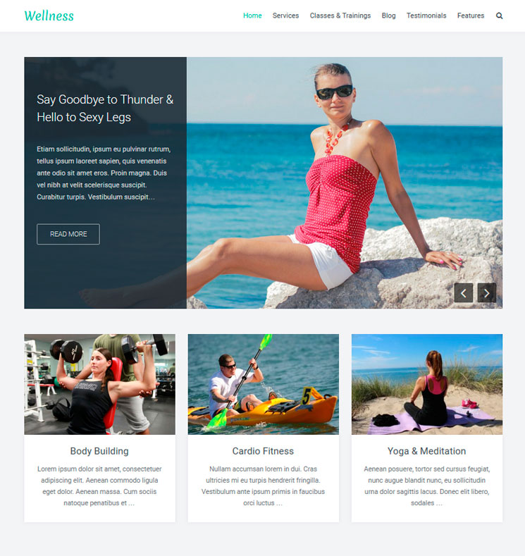 Wellness WordPress шаблон