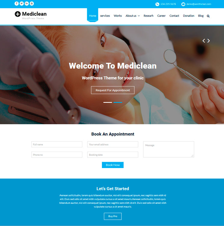 Mediclean WordPress шаблон