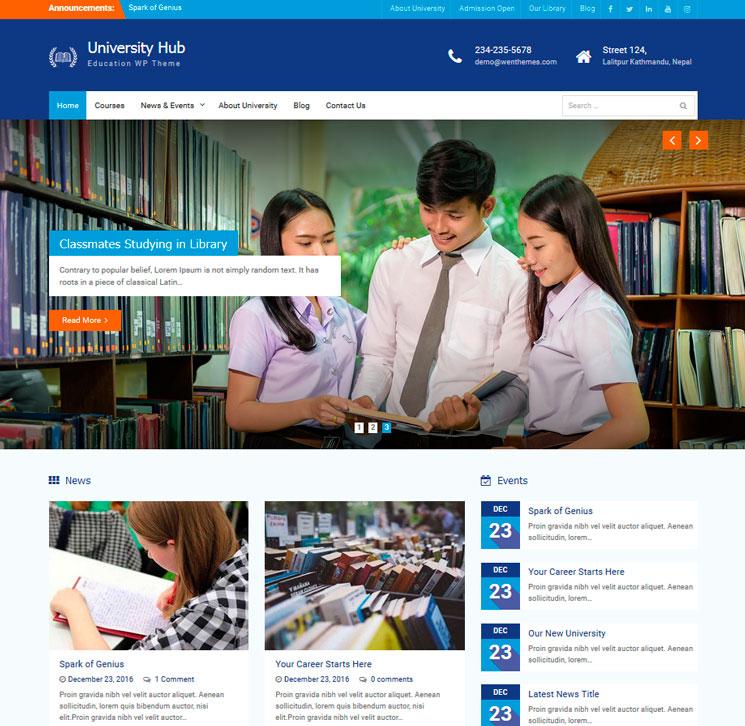 University Hub WordPress шаблон